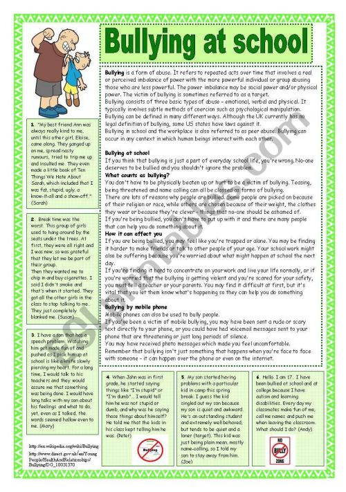 small resolution of Bullying at school. Reading comprehension - ESL worksheet by coyote.chus