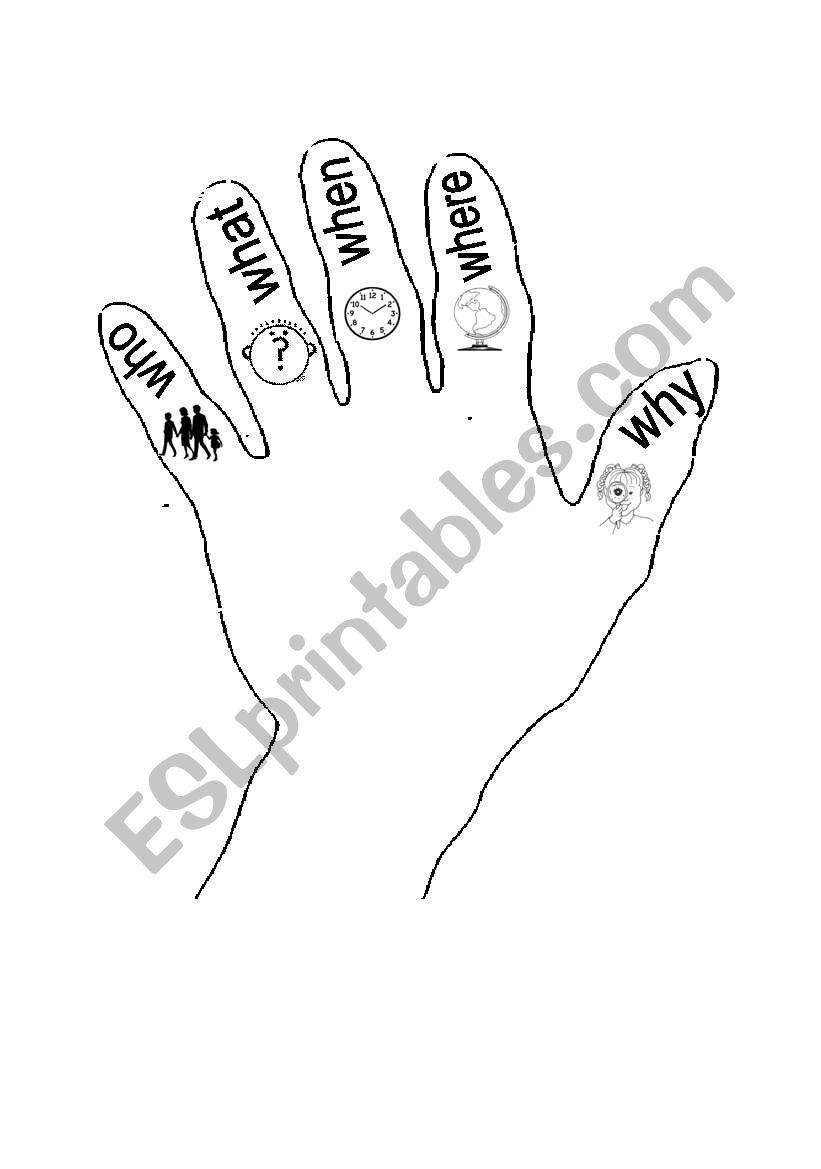 English worksheets: 5 finger storytelling