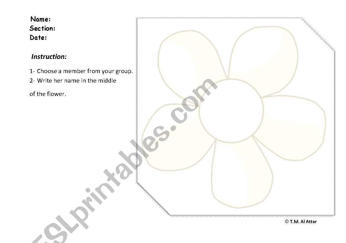Flower Shape Worksheet
