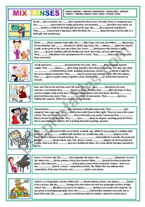 small resolution of MIX TENSES (SIMPLE PRESENT-PRESENT PROGRESSIVE-SIMPLE PAST-PRESENT  PERFECT-FUTURE) - ESL worksheet by nivida