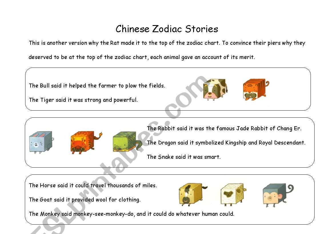 English Worksheets Chinese Zodiac Story