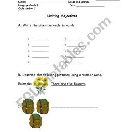 English worksheets: Limiting Adjectives (Cardinal and Ordinals) [ 1169 x 821 Pixel ]