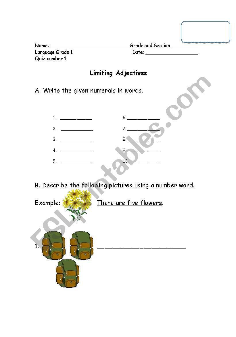 medium resolution of English worksheets: Limiting Adjectives (Cardinal and Ordinals)