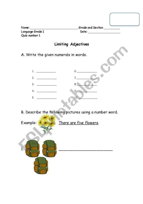 small resolution of English worksheets: Limiting Adjectives (Cardinal and Ordinals)