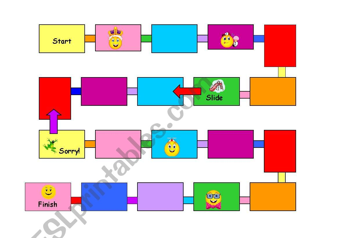 English Worksheets Syllable Game Board And Cards