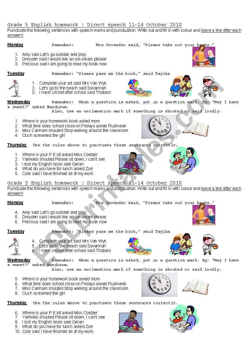 medium resolution of punctuating direct speech - ESL worksheet by Kellycoetzer