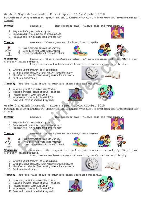 small resolution of punctuating direct speech - ESL worksheet by Kellycoetzer