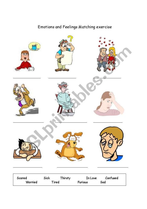 Emotions And Feelings Matching Worksheet With Answer Key
