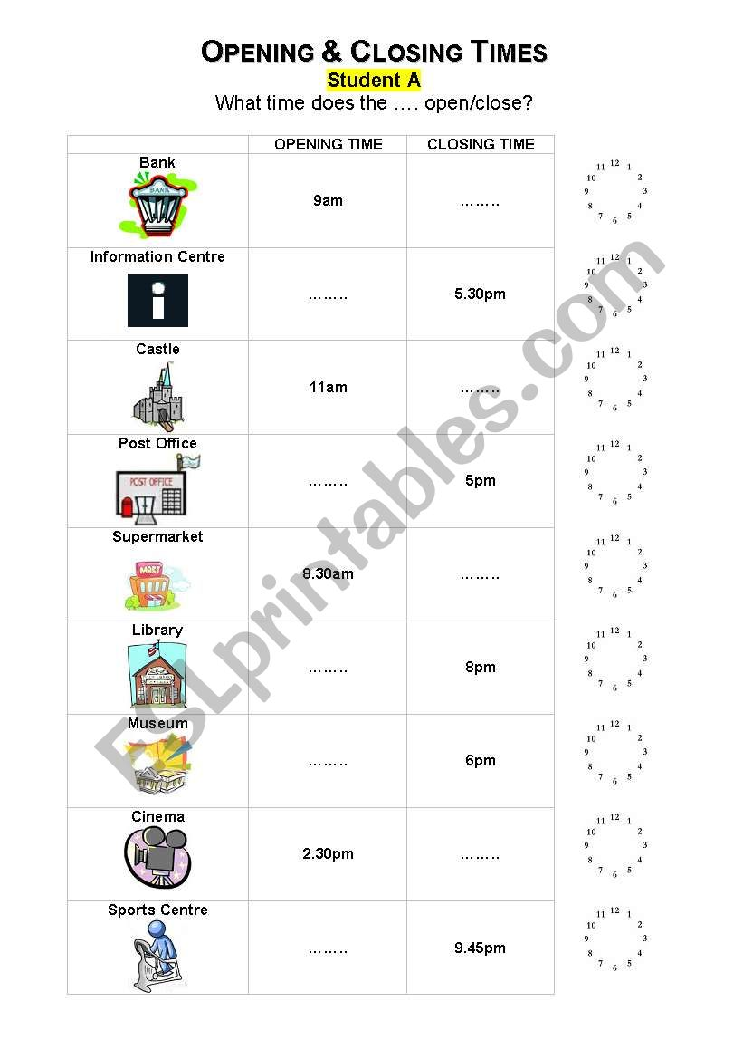 English worksheets: Opening and Closing Times