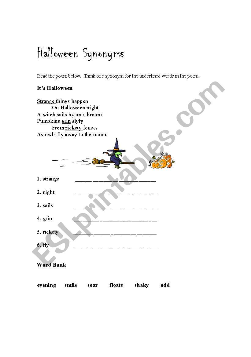 English worksheets: Halloween Synonyms