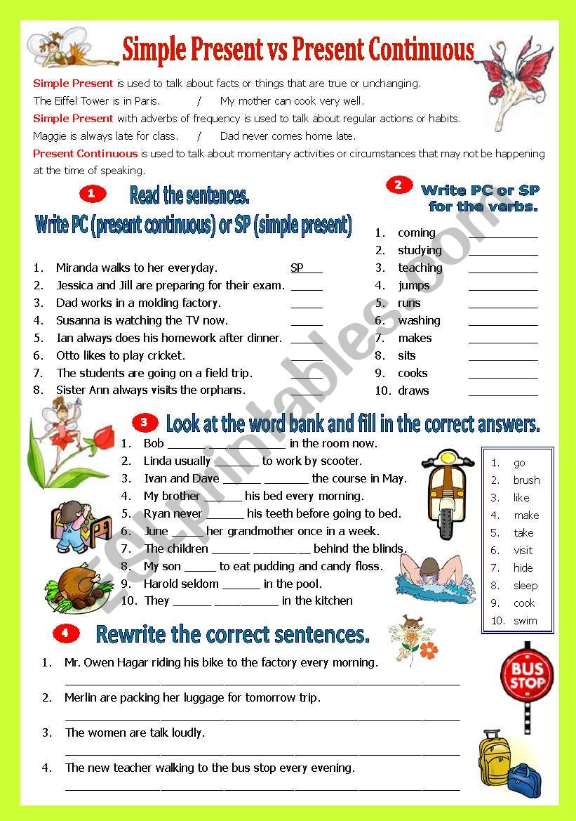 hight resolution of Simple Present vs Present Continuous Tense - ESL worksheet by shusu-euphe