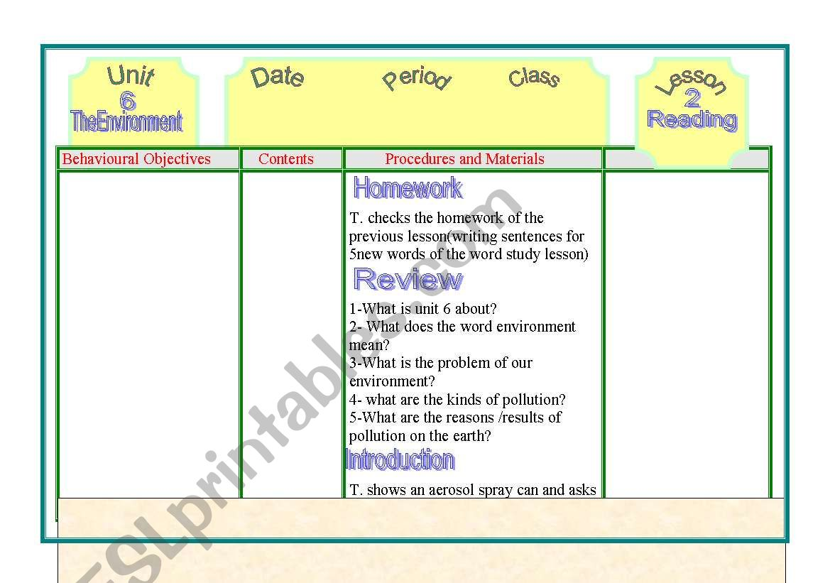 English Worksheets The Invironment