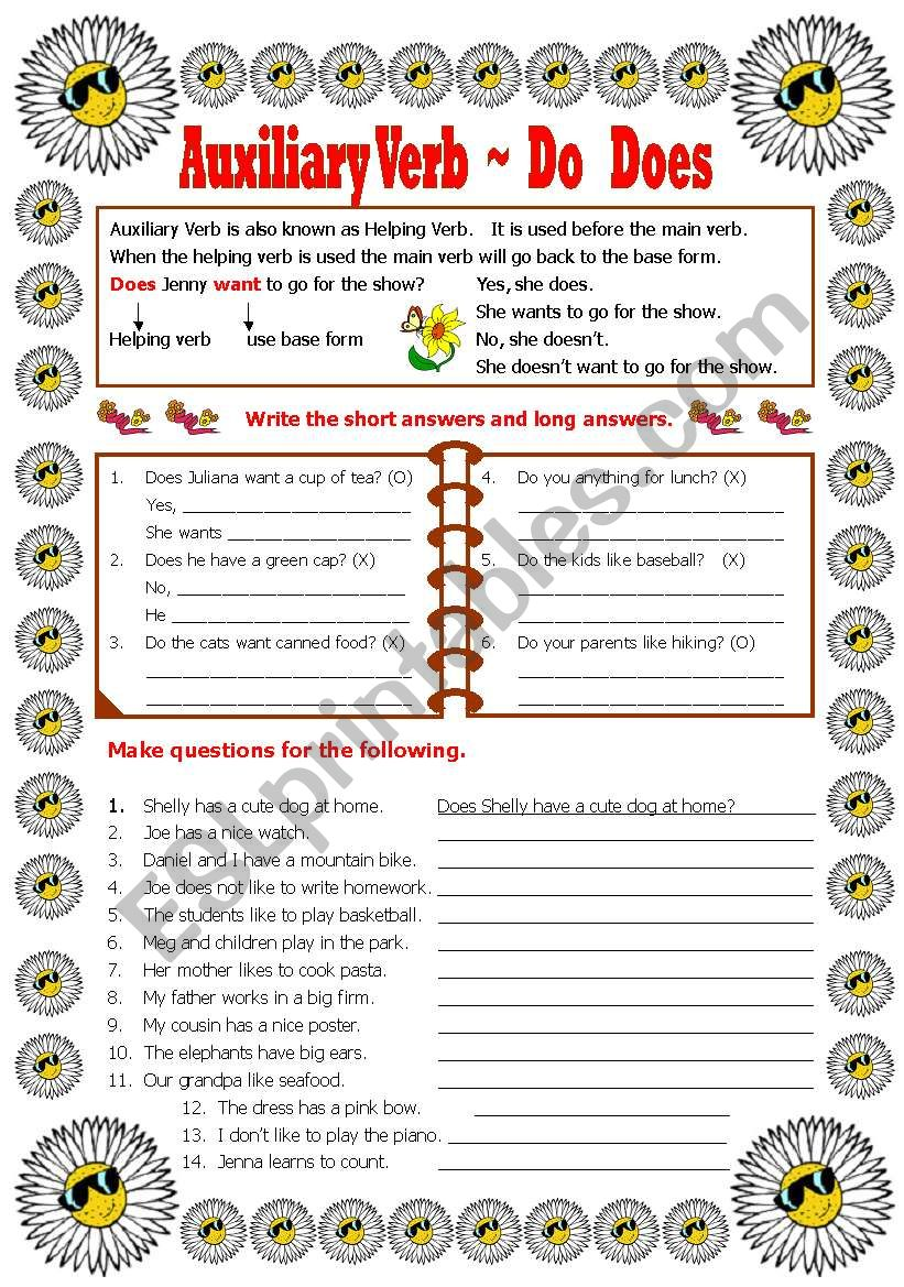 medium resolution of Auxiliary Verb - Do -Does-Did - ESL worksheet by shusu-euphe