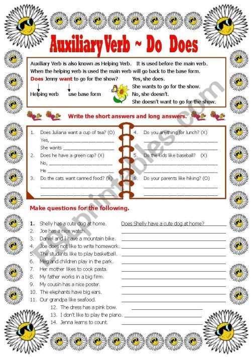 small resolution of Auxiliary Verb - Do -Does-Did - ESL worksheet by shusu-euphe