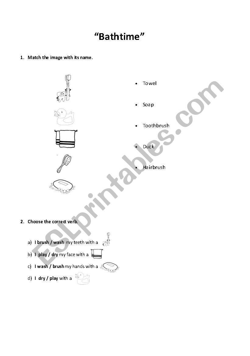 English worksheets: bath time
