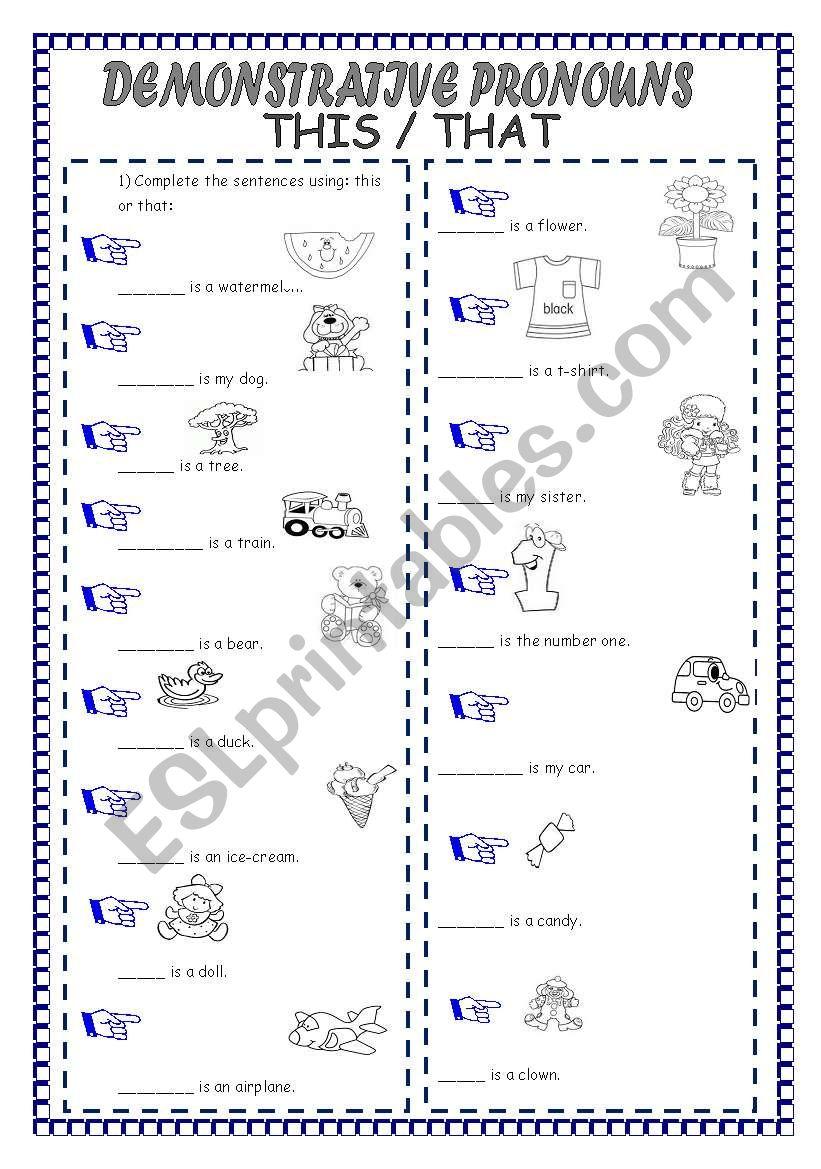 medium resolution of DEMONSTRATIVE PRONOUNS - ESL worksheet by laninha