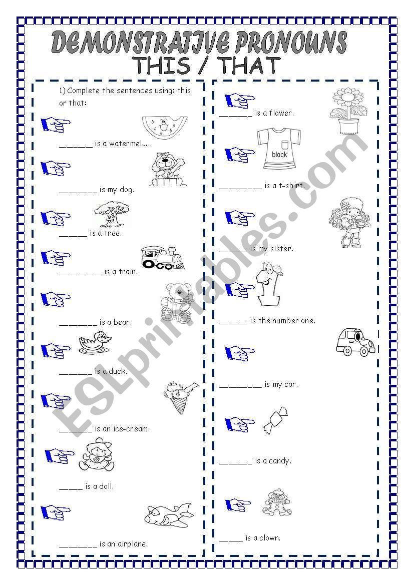hight resolution of DEMONSTRATIVE PRONOUNS - ESL worksheet by laninha