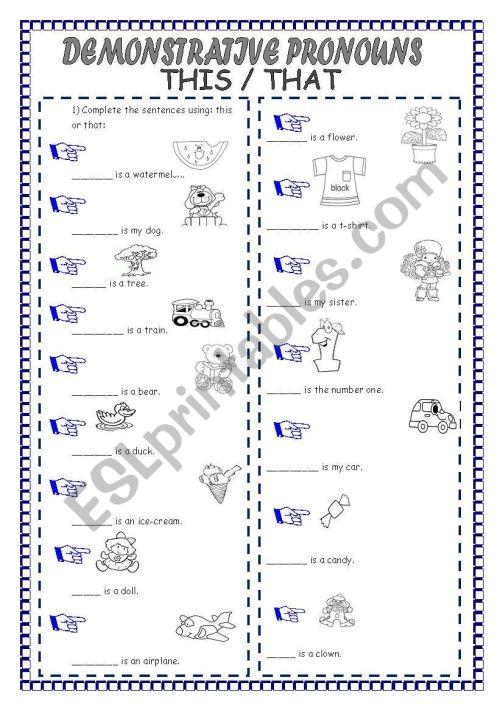 small resolution of DEMONSTRATIVE PRONOUNS - ESL worksheet by laninha