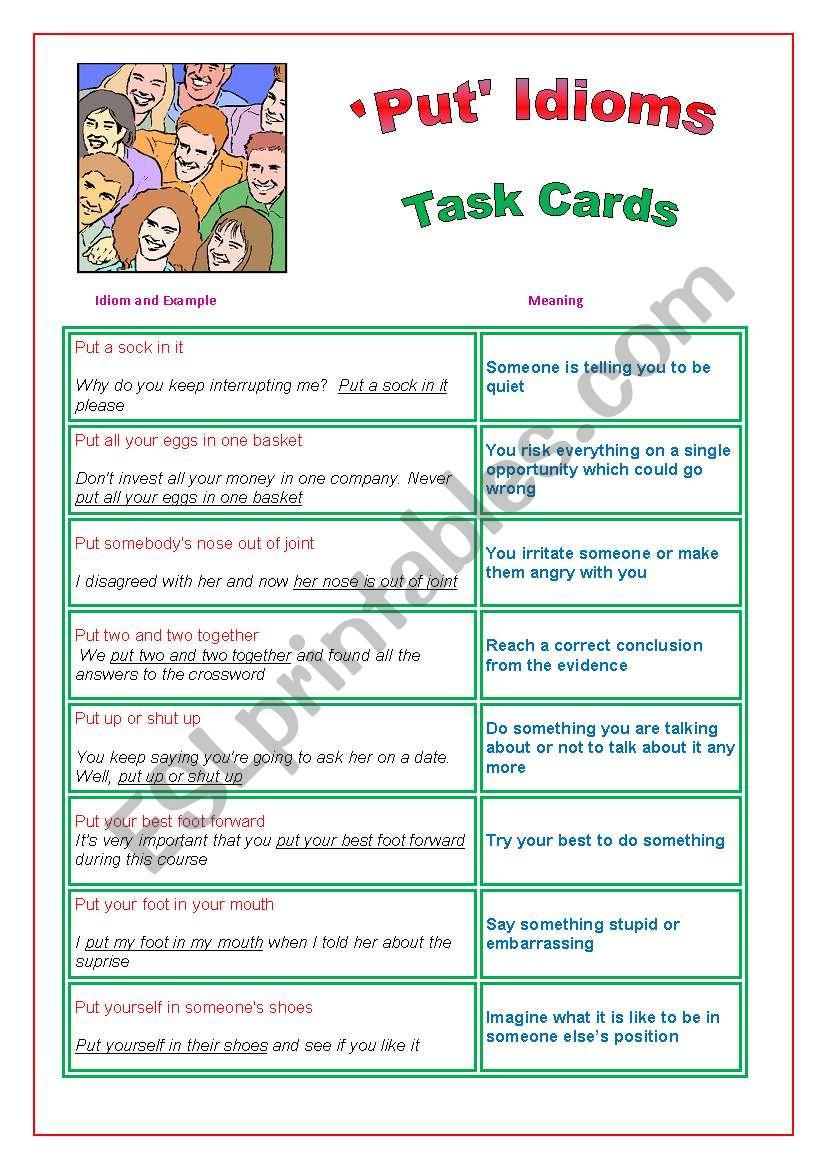 Put Idioms Task Cards