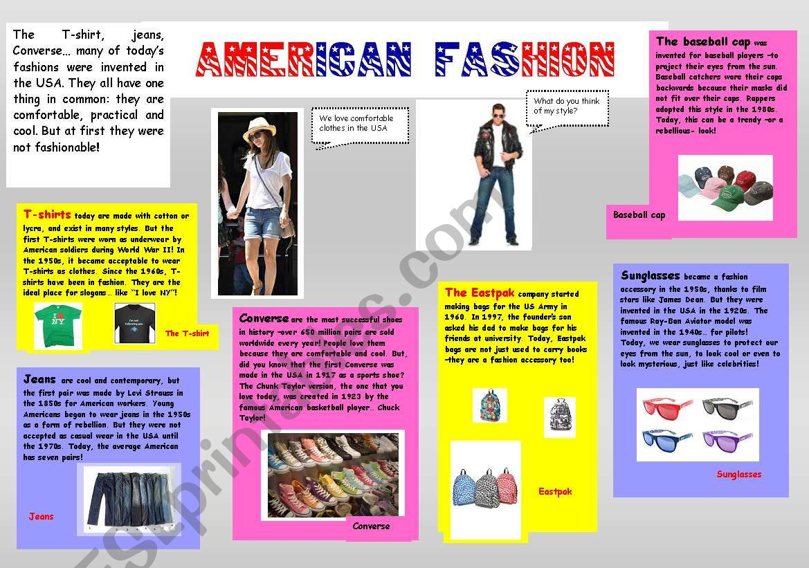 English Worksheets American Fashion