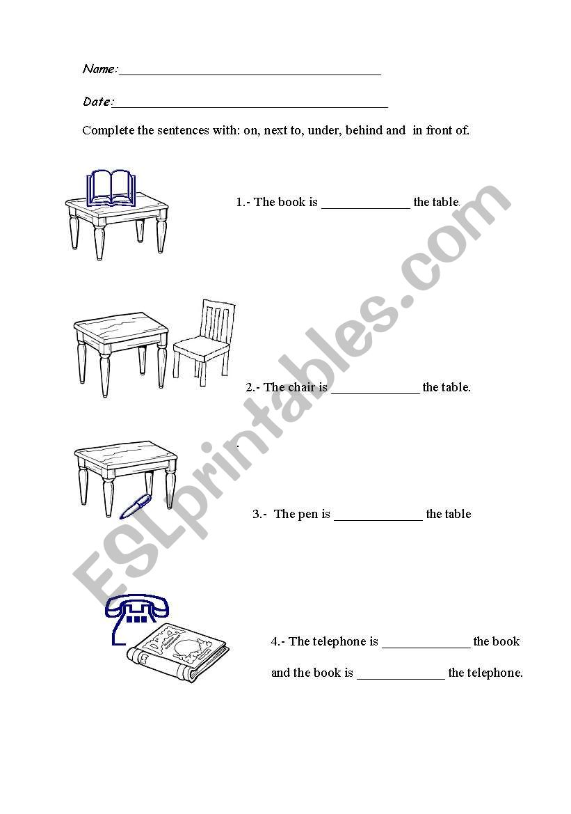 English worksheets: On, next to, under, behind and in