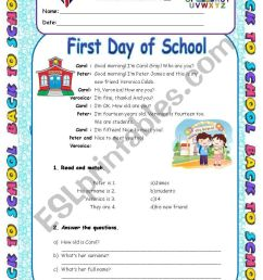 First Day of School - Personal Info Worksheet 5th Grade - ESL worksheet by  Diana Parracho [ 1169 x 821 Pixel ]