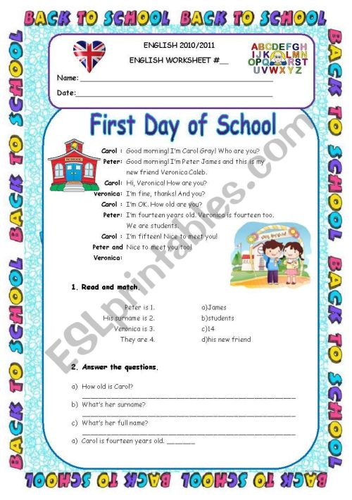 small resolution of First Day of School - Personal Info Worksheet 5th Grade - ESL worksheet by  Diana Parracho