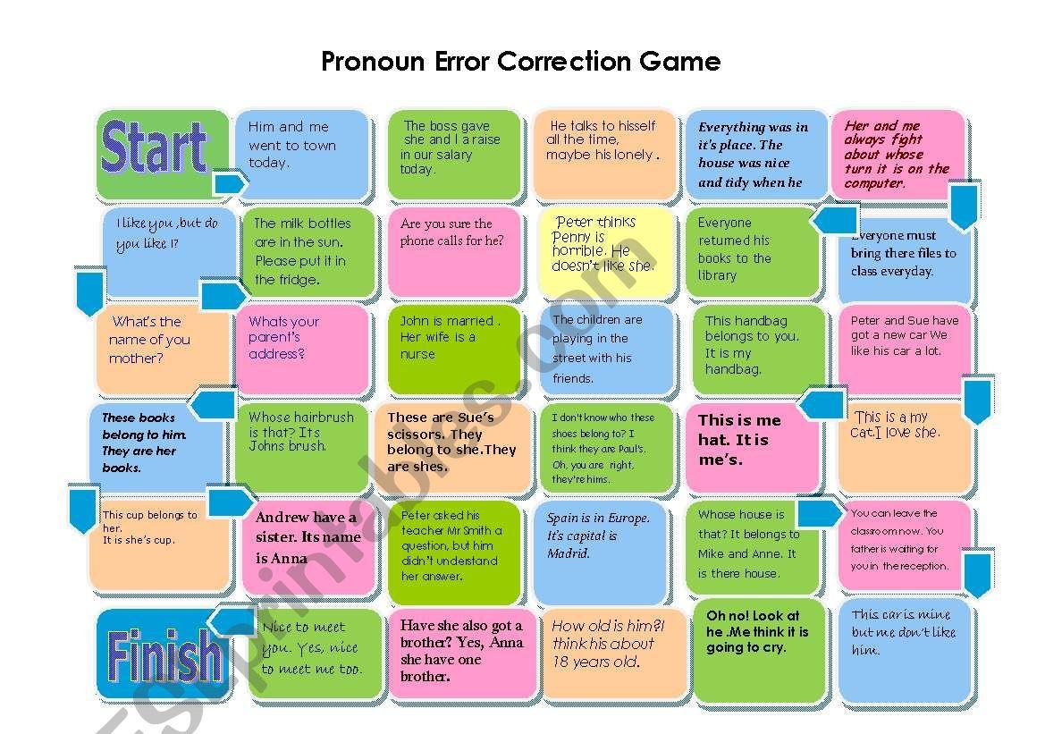 Pronoun Error Correction Gameboard