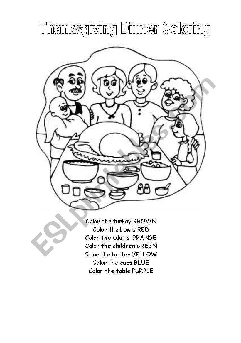 English worksheets: Thanksgiving Dinner Coloring