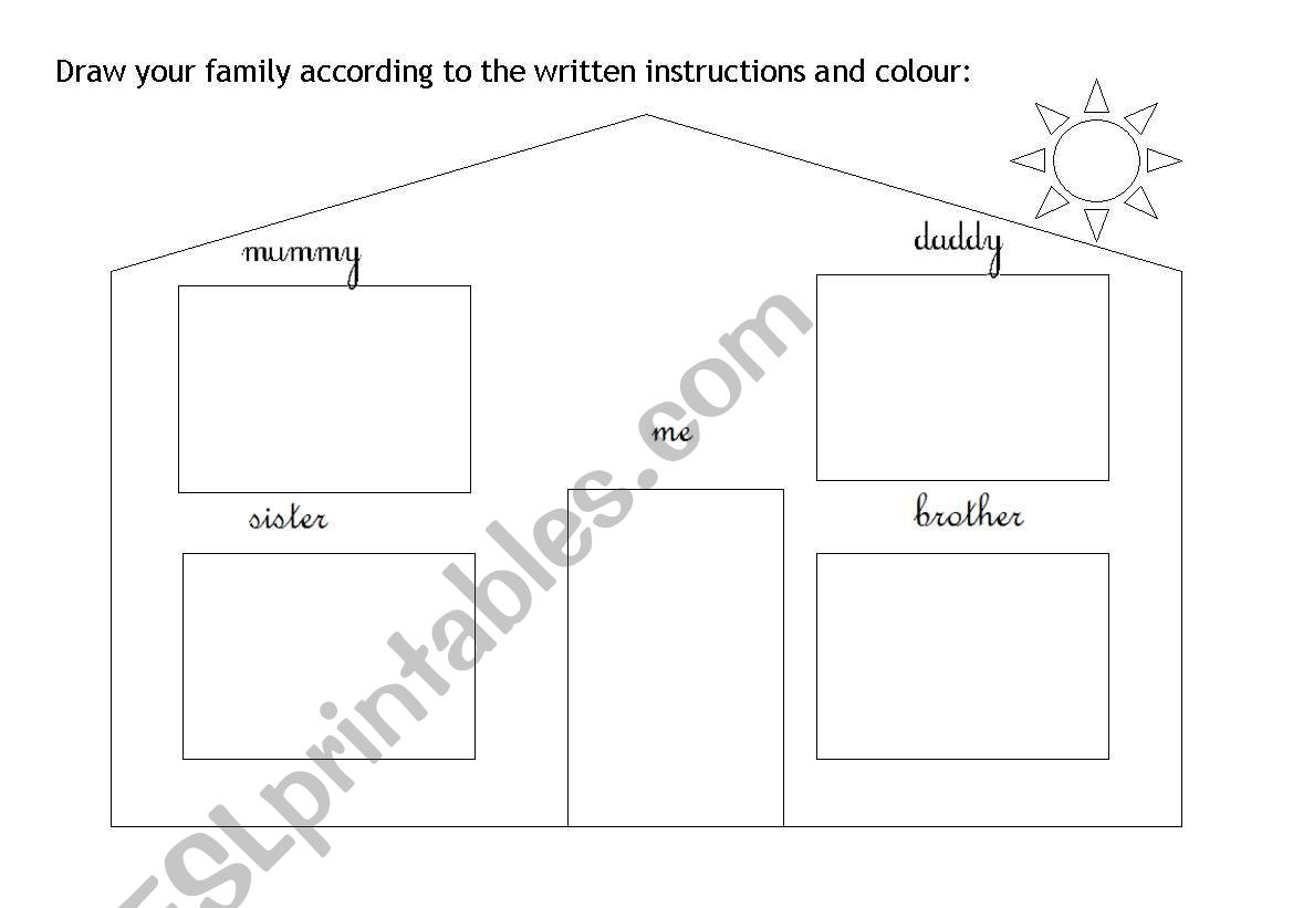English Worksheets Draw Your Family