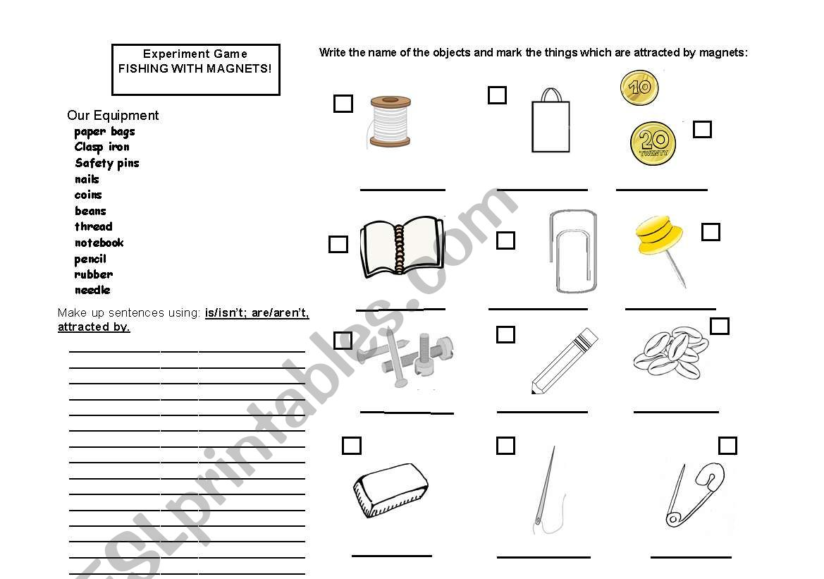 English Worksheets Experiments Magnets Clil Lesson