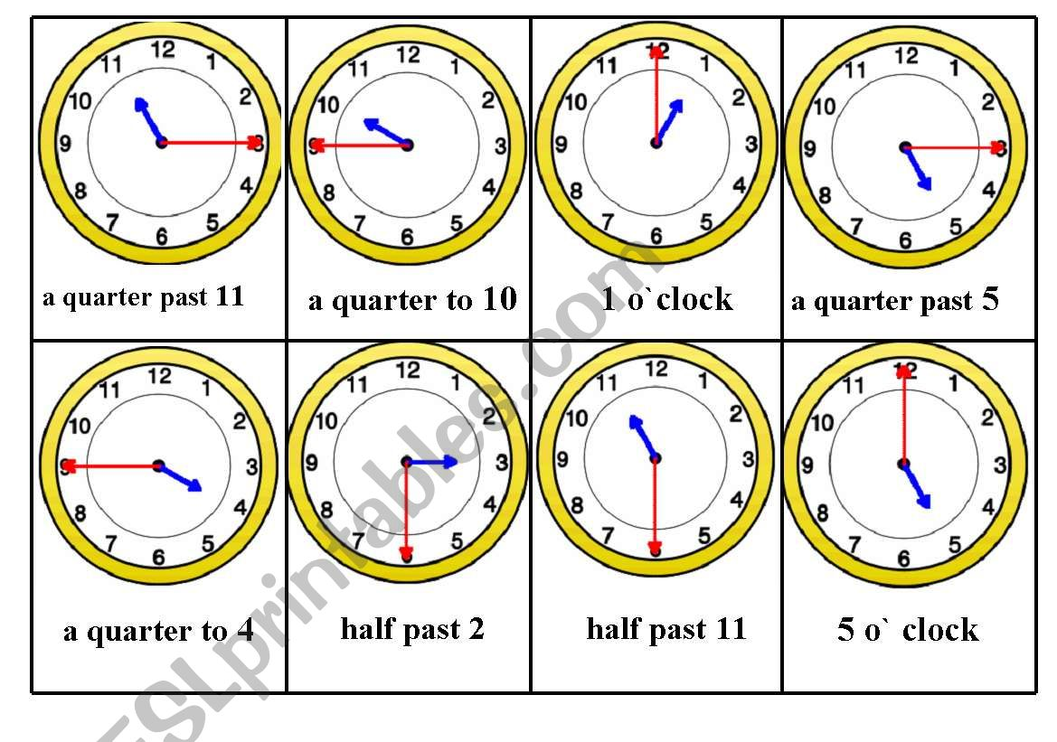 Telling Time Bingo Game Card Nr 4 6