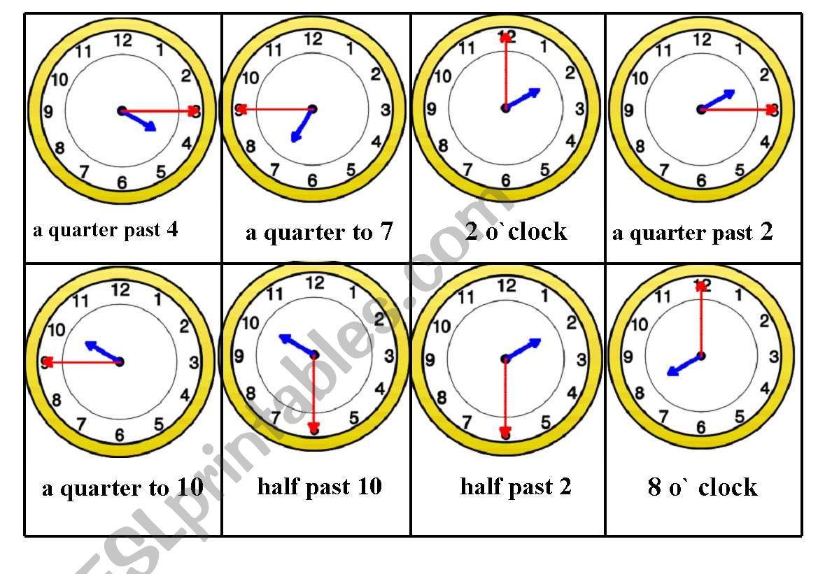 Telling Time Bingo Game Card Nr 5 6