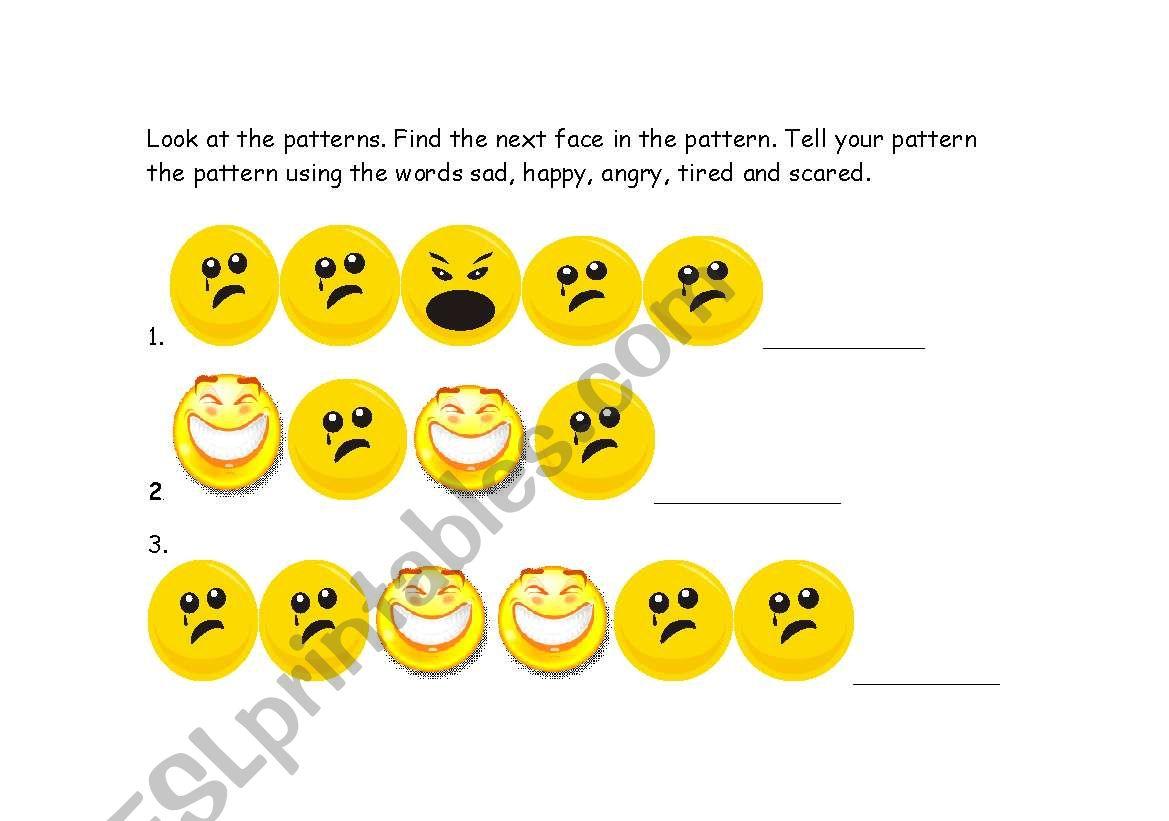 English Worksheets Emotions Pattern Activity Kindergarten