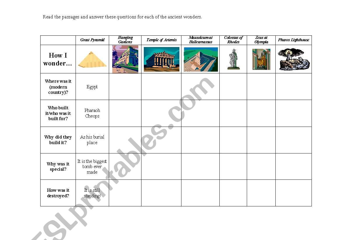 English Worksheets The Seven Wonders Of The World