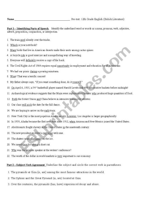 small resolution of English worksheets: 12th grade grammar pre-test