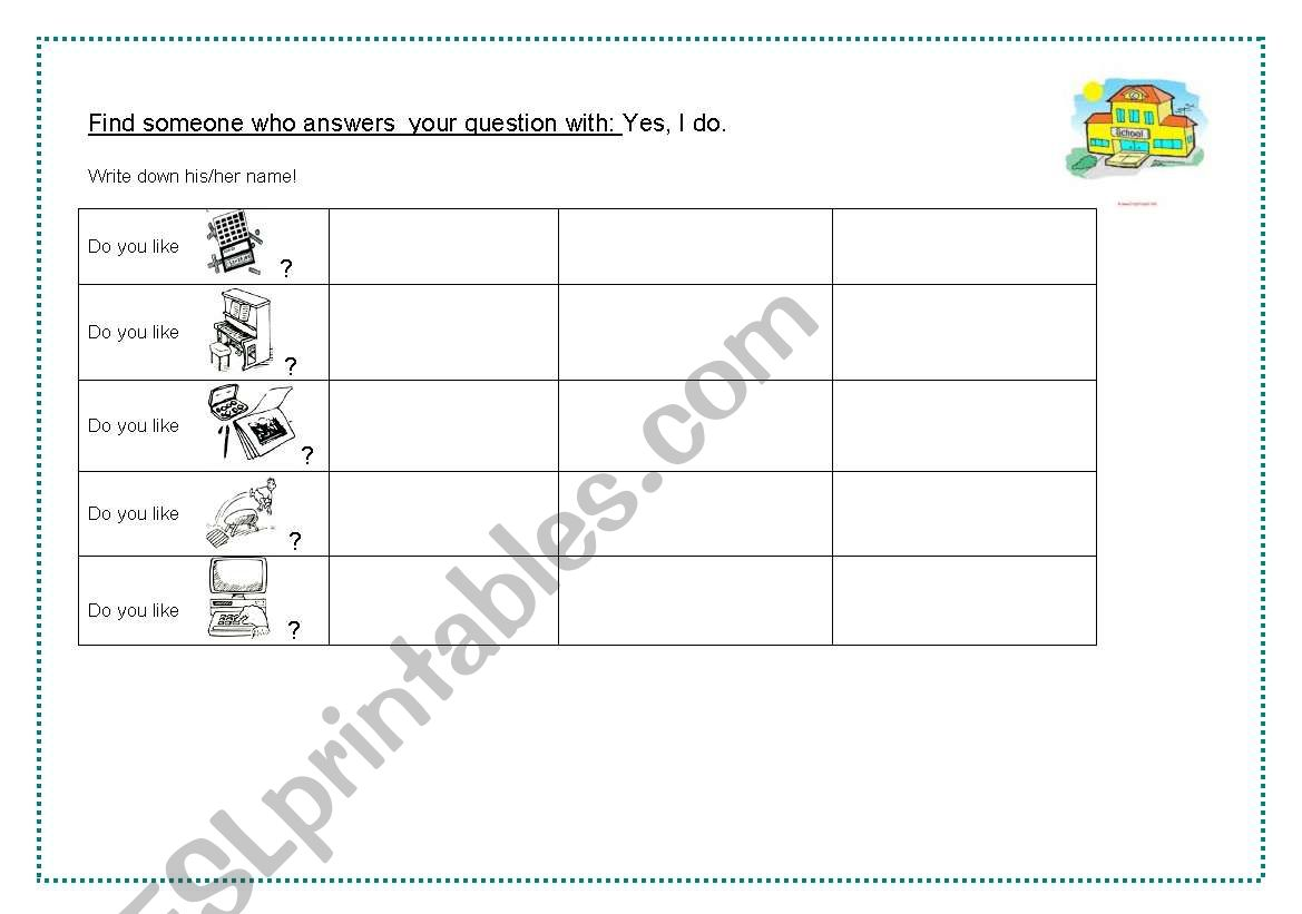 English Worksheets Find Someone Who School Subjects
