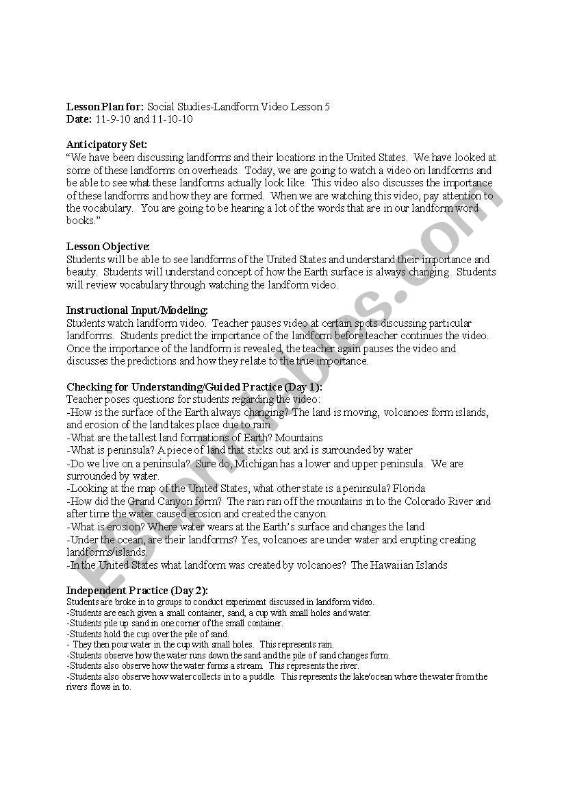 English Worksheets Erosion
