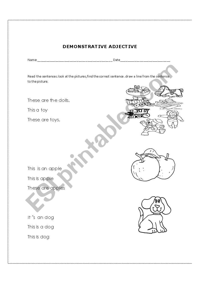 English worksheets: demonstractive adjectives
