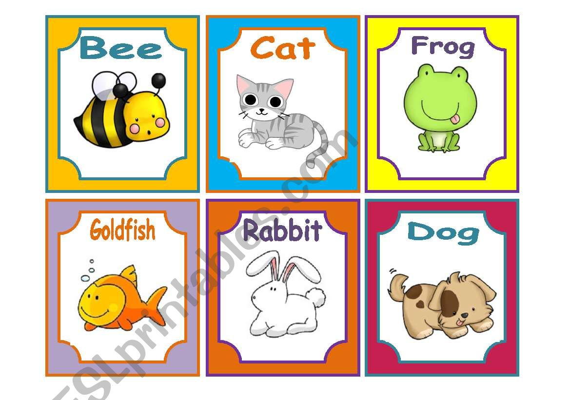 Animals Flashcards 1 3 Pets And Farm 18 Cards