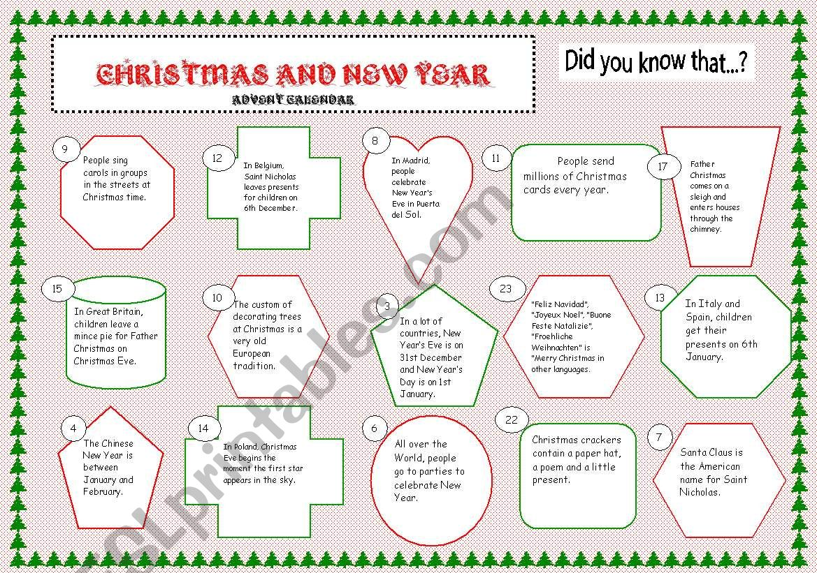 Advent Calendar And 2 Exercises