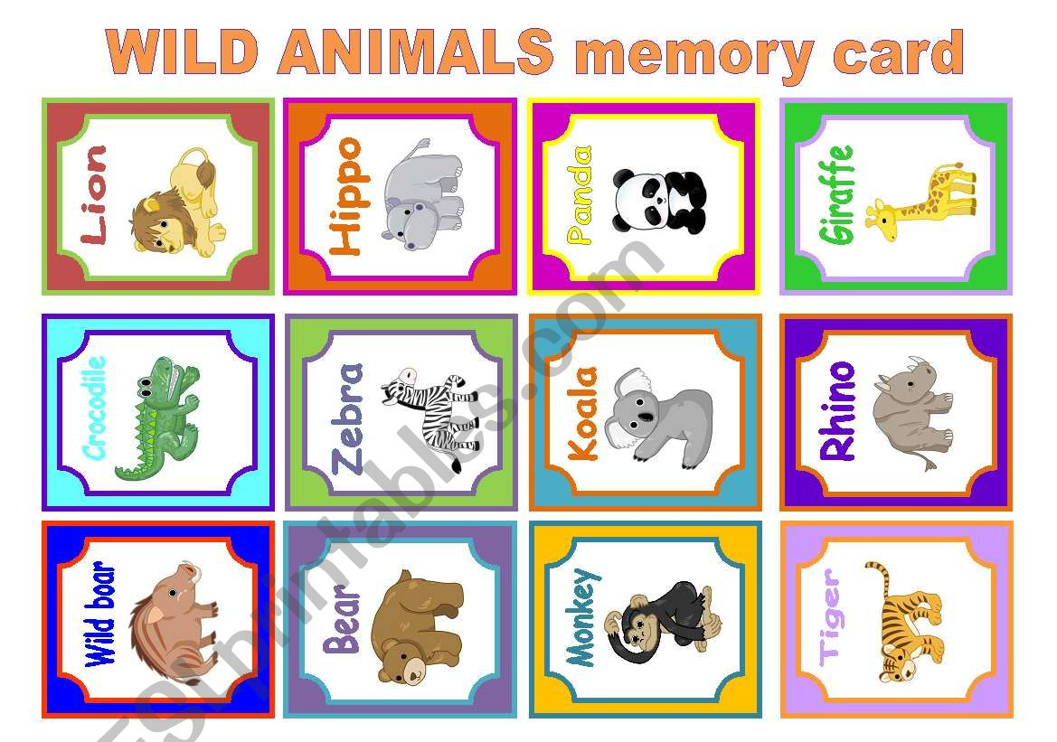 Wild Animals Memory Card Game