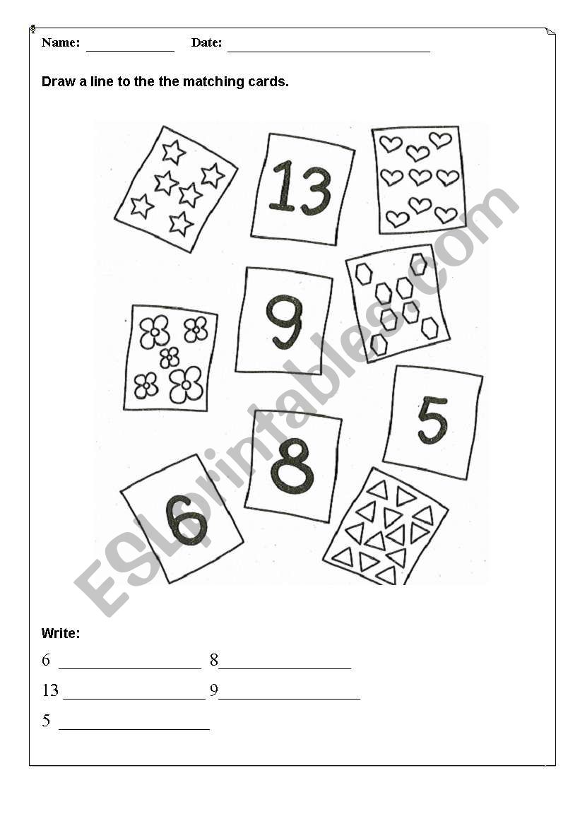 English worksheets: Matching numbers