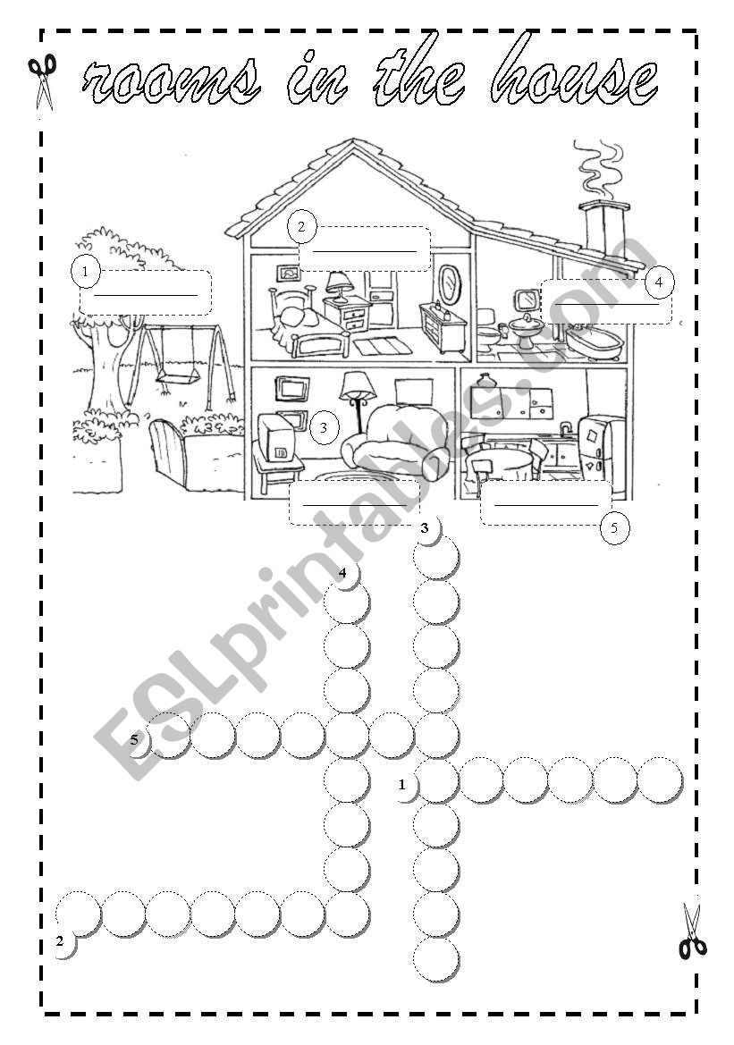 English worksheets: Rooms in the House- Crossword + Key