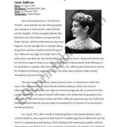 Anne Sullivan - Teacher of miraculous Helen Keller - ESL worksheet by  jadenguyen88 [ 1169 x 821 Pixel ]