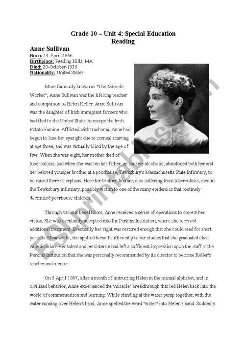 small resolution of Anne Sullivan - Teacher of miraculous Helen Keller - ESL worksheet by  jadenguyen88