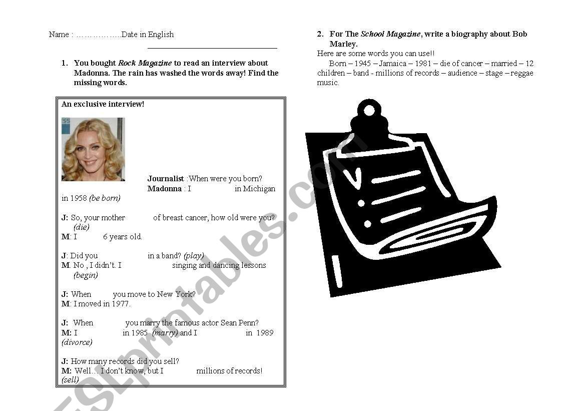 English Worksheets Biography And Interview
