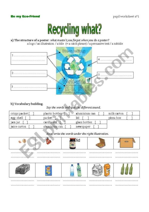 small resolution of The first worksheet from a lesson plan on recycling using modals - ESL  worksheet by nanette25