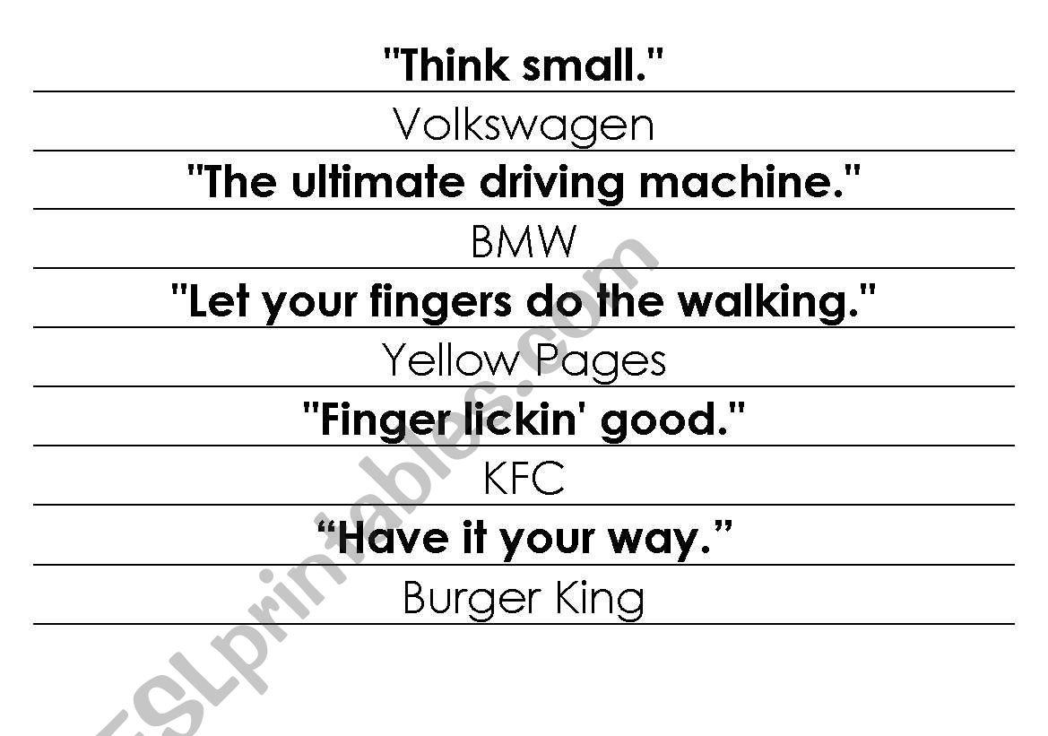 33 Advertising Slogans Worksheet Answers
