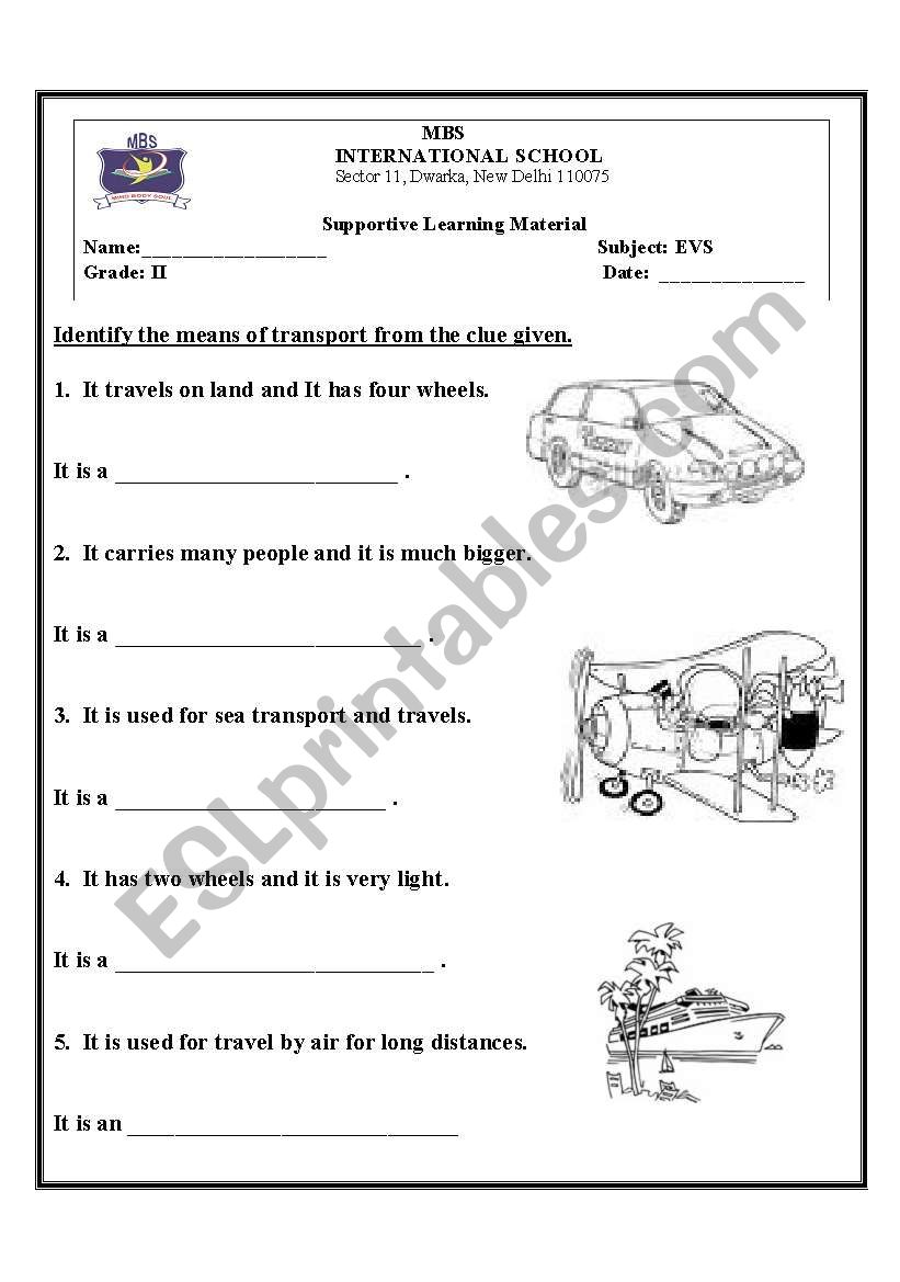 English worksheets: means of transport